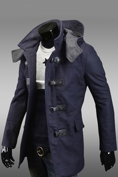 Ericdress Blue Vogue Hooded Men's Coat