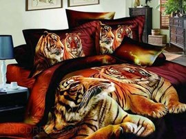 Tiger Couples on Land Print 4-Piece Cotton Duvet Cover Sets
