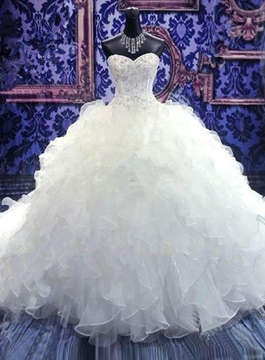 Amazing Beaded Sweetheart Tiered Ruffles Cathedral Wedding Dress