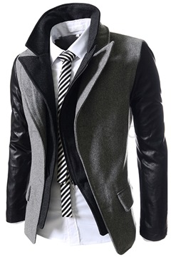 Ericdress Patched Sleeves Double-Layer Design Slim Vogue Men's Coat