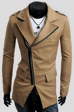 Diagonal Zipper Men's Casual Trench Coat