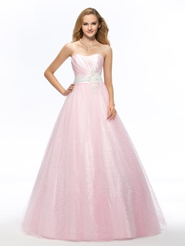 Pretty Sweetheart Beading Appliques Sashes Long Quinceanera Dress