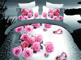 Whisper of Pink Roses Print 3D Bedding Sets