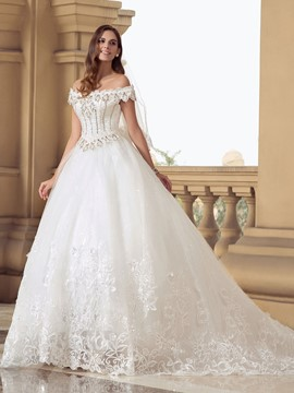 Charming Off-The-Shoulder Beading Appliques Wedding Dress