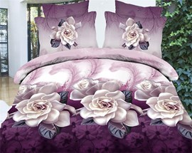 Noble Purple Flowers Print 3D 4-Piece Duvet Cover Sets
