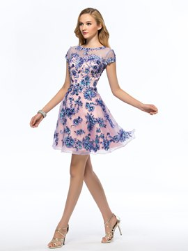 Pretty Bateau Appliques Beading Short Sleeves Homecoming Dress
