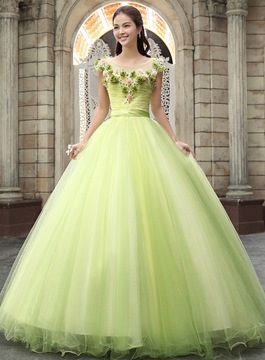 Glamorous Cap Sleeves Gathered Flowers Ribbon Long Quinceanera Dress