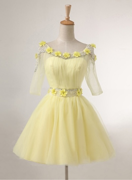 Pretty Flowers A-Line Half Sleeves Homecoming Dress