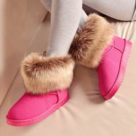 Fake Furry Rubber Sole Flat Heel Women Snow Boots