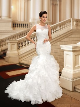Charming Jewel Beading Tiered Mermaid Wedding Dress