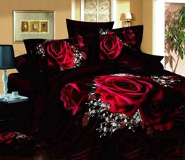 Luxury Rose 4 Piece Bedding Sets/Duvet Cover