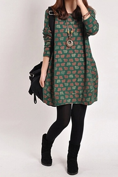 Ericdress Round Neck Print Casual Dress