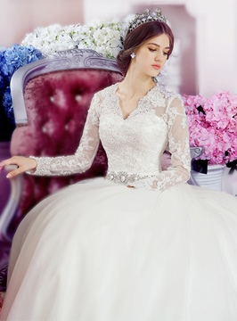 Classy V-Neck Appliques Cathedral Wedding Dress With Sleeves
