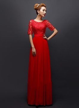 Vintage Half Sleeves Lace A-Line Evening Dress
