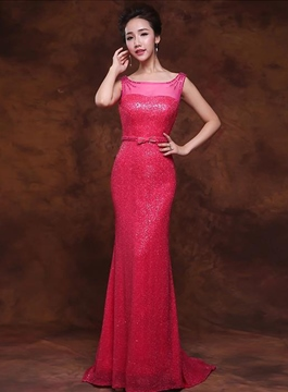 Vogue Trumpet Bateau Sleeveless Sequins Full-Length Evening Dress