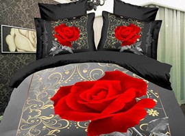 100% Cotton Wonderful Rose 4 Piece 3D Bedding Sets
