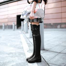 Retro European Solid Color Knee High Boots