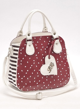 Sweet Wine Red Little Rabbit Print One Shoulder Bag