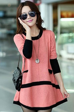Ericdress Vogue Color Block Loose Knitwear