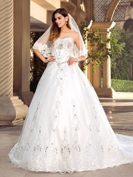 Charming Rhinestone Beaded Sweetheart White A-Line Wedding Dress