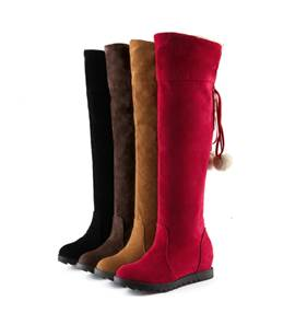 Cheap Knee High Flat Heel Plush Ball Elevator Boots