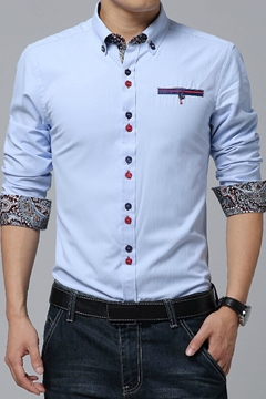 Lapel Patchwork Single-Breasted Long Sleeve Shirt