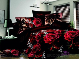 Luxury Rose 4 Piece 3D Bedding Sets