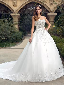 Rhinestone Beaded Sweetheart Court-Train Wedding Dress