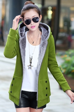 Plus Velvet Hooded Cotton Coat