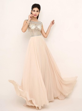Glamorous Scoop Sweep Train Sheer Evening Dress
