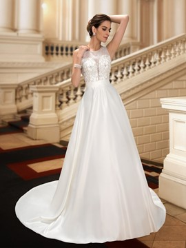Classy Jewel Beading A-Line Court Wedding Dress