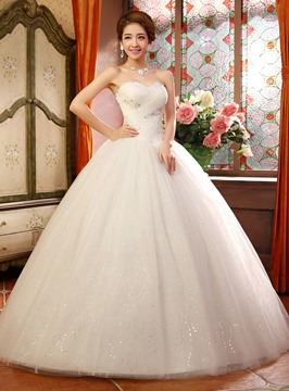 Classy Strapless Beading Sequins Ball Gown Wedding Dress