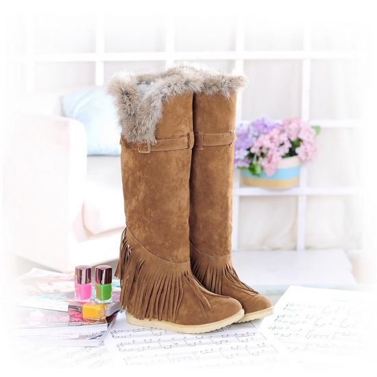 unique tassels suede knee high boots 11129172 ericdress