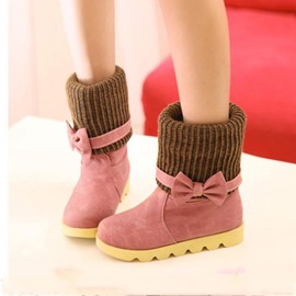 Latest Trend Sweet Bowknot Flat Heel Ankle Boots