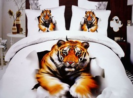 Foerce Tiger Print 4-Piece 3D 100% Cotton Duvet Cover Sets