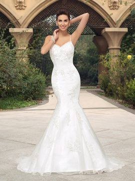 Charming Beading Applique Straps Lace-Up Mermaid/Trumpet Wedding Dress