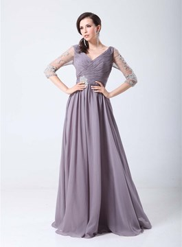 Glamorous Long Sleeves Beading A-Line Floor Length Evening Dress