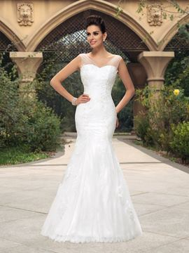 Concise V-Neck Appliques Mermaid Wedding Dress
