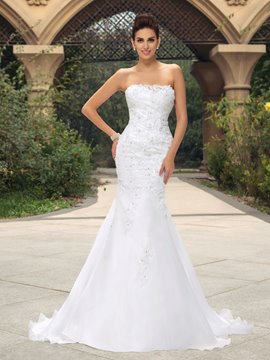 Glamorous Strapless Appliques Sequins Mermaid Wedding Dress