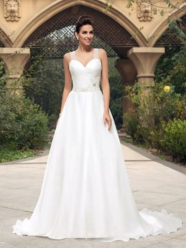 Straps A-Line Beading Button Long Wedding Dress