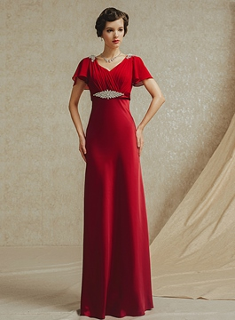 Noble Cap Sleeves Floor Length Short Sleeves Evening Dress