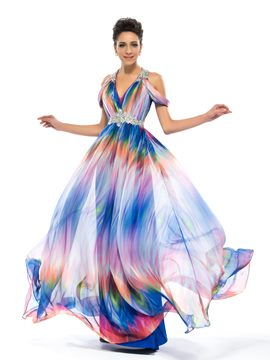 Pretty Halter V-Neck Empire Pleats Printed Evening Dress