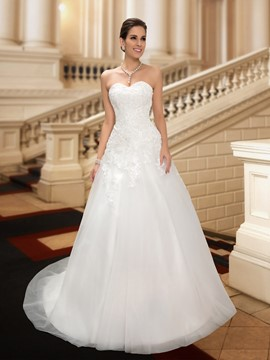 Wonderful Sweetheart A-Line Appliques Zipper-up Long Wedding Dress
