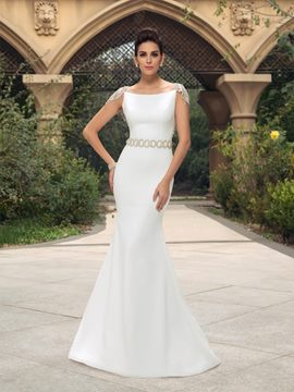 Mermaid Cap Sleeves Beading Sweep Train Long Wedding Dress