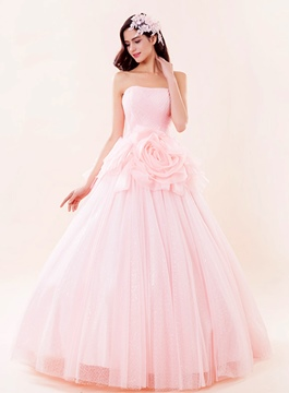 Dramatic Strapless Lace-Up Quinceanera Dresses