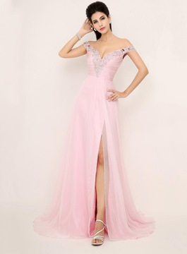 A-Line Split-Front Off-Shoulder Evening Dress