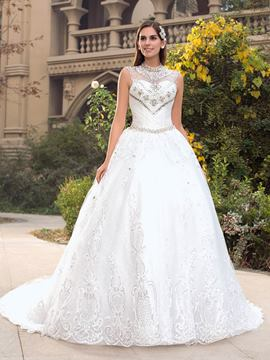 Vintage High Neck Beading Court Train Wedding Dress