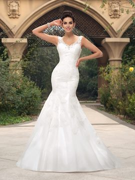 Simple V-Neck Sweep Train Lace Mermaid Wedding Dress
