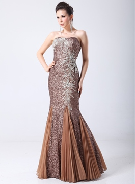 Charming Strapless Sequins Mermaid Evening Dress