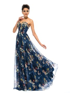 Charming A-Line Sweetheart Floral Pattern Evening Dress